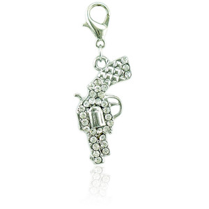 Classics Floating Lobster Clasp Charms Dangle Silver Plated White Rhinestone Gun DIY Charms For Jewelry Making Accessories