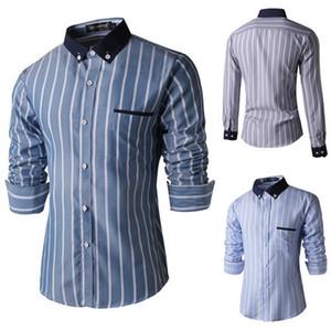 All'ingrosso- Camicie eleganti degli uomini casuali di affari delicati di alta qualità 2015 nuovo marchio uomo Slim fit manica lunga Moda Camisas de marca Abbigliamento