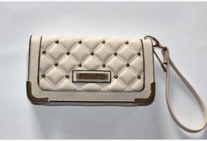 Venta caliente Kim Kardashian kollection diseño largo Bolso de cuero genuino remache monedero kk carteras de mujer bolso de embrague carteira feminina
