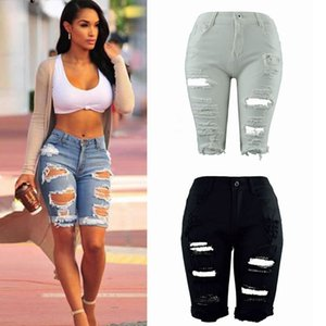 Wholesale- Women Ladies Denim Shorts Stretch Ripped Hole Denim Jeans Skinny Casual Pants