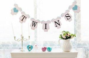 Vente en gros - Livraison gratuite 1 Set Twins Bannière Baby Shower Garland Signe Photo Props Enfants Fête D'anniversaire Décoration