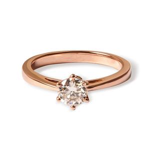 Queen Brilliance Genuine14k 585 Rose Gold 0.5 quilates ct Color GH Compromiso de boda Moissanite Anillo de diamante para mujeres ccp