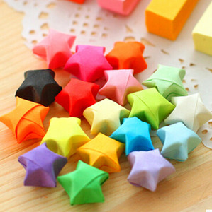 Wholesale- [YYYYAAAA] DIY Set off paper powder stars Wishing bottle long straw stacked origami Wishing Star Lucky Star fold paper