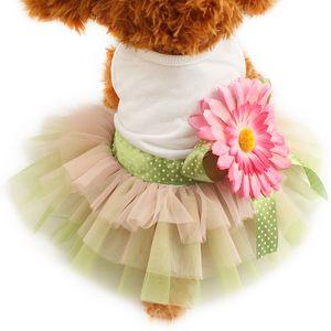 armipet 해바라기 꽃 장식 개 드레스 공주 드레스 개 6,071,014 애완 동물 의류는 S, M, L, XL 공급을 위해