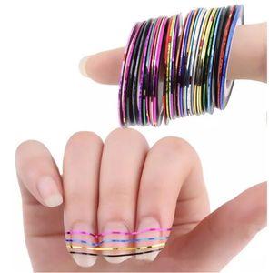 Colores mezclados Rollos Cinta de rayas Línea Nail Art Tips Decoración Etiqueta de belleza Decoración Etiqueta Uñas Cuidado Accesorios de arte