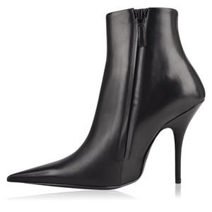Son Kadınlar Sivri Burun Elbise Ayakkabı Ayak Bileği Çizmeler Katı Stiletto Yüksek Topuklar Pist Çizmeler Moda Seksi Siyah Kadın Serseri ...