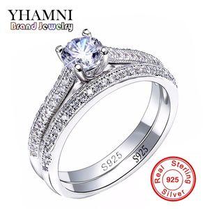 SONA CZ Diamant Anelli di fidanzamento Set reale 925 anelli in argento sterling per le donne anelli di nozze della fascia Promessa gioielli da sposa JZR131