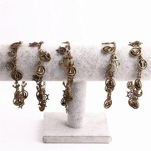 1 peça liga de zinco de metal antigo pulseira de bronze pingente de âncora cadeia charme pulseira leme diy jóias fazendo c0611