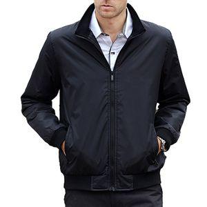 Spring Autumn Jacket Men Stand Collar Casual Thin Coats New Fashion Loose Manteau Homme Bomber Jacket Plus Size M-XXXL