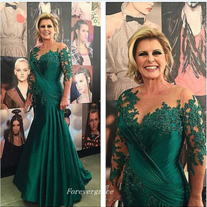 Elegant Long Sleeve Green Mother of the Bride Dresses Mermaid Appliques Formal Godmother Women Wear Evening Wedding Guests Dress Plus Size
