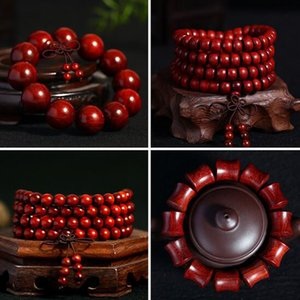 108 Beaded Strands Wood Buddha Buddhist Prayer Beads Africa Bracelet Mala Bangle Wrist Ornament Jewelery Gift For Father Free Shipping