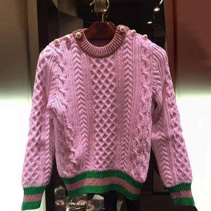 HAUTE QUALITÉ 2016 nouvelle mode Runway chandail à manches longues femmes laine à tricoter Color Block Pull