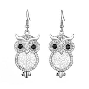Designs Exquisite Luxus Kristall Tier Big Eye Owl Ohrringe Lange Haken Hohler Baum baumeln Ohrring für Frauen-reizender Partei Charm Schmuck