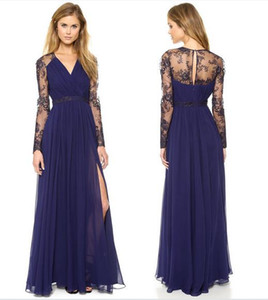 Bud silk v-neck dress Long-sleeved chiffon stitching dress
