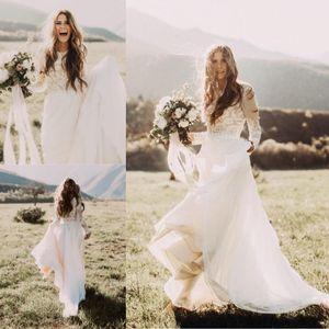 Дешевые богемные пляжные кружевные свадебные платья с прозрачными длинными рукавами Bateau Neck A Line Аппликация из шифона Boho Country Свадебные платья