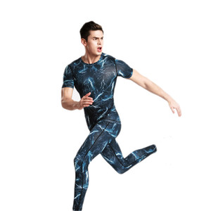 Eng anliegende Bewegung des Anzugs Männer schnell atmungs Jogging Trainer Kleidung, Europa und den Vereinigten Staaten Leopard Herren-Jogging-T-Shirt s Trocknen