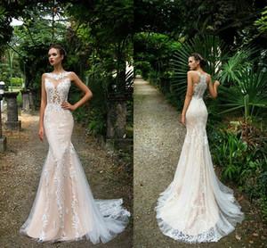 Nuevo estilo rural sexy vestidos de novia de encaje sirena ilusión corpiños champán botón cubierto espalda vestidos de novia