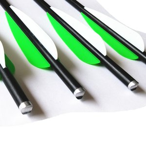 16   20 Inch Fiberglass Arrows Crossbow Bolts Fletched 4 Inch Vanes with 100 Grain Screw-In Field Tips 12Pk