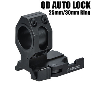 """Tactical Auto Lock Quick Detach 25mm 30mm Flashlight Scope Ring Mount 1"""" Of Forward Scope Position Picatinny Weaver Mount Black"""