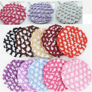 NEW 17 colors Bun Cover Snood Hair Net Ballet Dance Skating Crochet White Pearl rhinestones Tails Holder Beautiful Colors free shipping