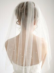 Один слой свадебная фата Ellbow длина Белый Слоновой Кости шампанское жемчуг свадебная фата с гребнем тюль