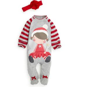 Noel Bebek Pijama Pamuk Jumpsuit Bodysuit Uzun Kollu Kıyafet Kış Bebek Erkek Kız Çocuk Giyim 0-24M Fabrika Giyim Ayak bağlayıcı
