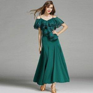 Le donne ballano la concorrenza standard della sala da ballo Costumi per le donne Ruffle Tango / Waltz Dancewear 2017 Modern Soft Dance Dress FN151