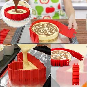 Vente chaude 4 Pcs / set DIY Gâteau En Silicone Cuisson Carré Rond Rond Moule De Forme Magic Bakeware Cuisson Serpent Molud Pâtisserie Outils