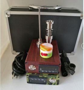 Дерево Camo E Dab ногтей Kit портативный электрический dab ногтей воск / масло PID полный комплект контроллер температуры box E D dabber ногтей Титана