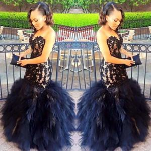 2018 Sexy Long Prom Vestidos sirena Sweetheart apliques con cuentas negro chica Prom 2K17 Prom Party vestidos volantes falda más el tamaño vestido formal