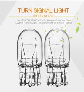 2 unids T20 7443 7440 W21 / 5W Bombilla de Halógeno Claro de Vidrio Luz de Circulación Diurna Luz de Señal de Voltaje Detener Brake Tail Bulb Bulbos DRL 3800 K