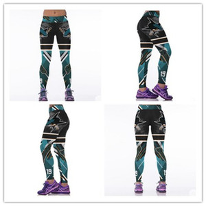 San Jose Sharks Sport Yoga Pants Sexy Push Up Equipo de hockey Legging Teal Green Elastic High Waist Fitness Medias Running para mujer Blanco
