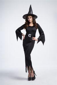 أسود طويل الساحرة زي هالوين الملابس الساحرة ليلة شبح زي الساحرة زي مثير