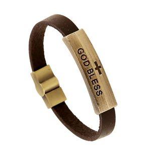 Dios bendiga la pulsera de la muestra al por mayor de cuero genuino pulsera de cierre magnético pulsera del encanto de la vendimia religiosa jesús joyería de regalo de navidad