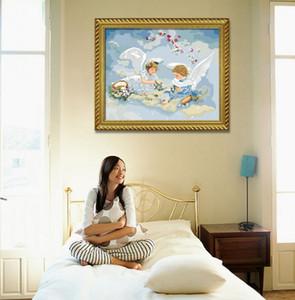 Экологию Абстрактной живопись Angel Wings Home Art Изображение с краской льняной печати Цветной Краска Digital Oil Современной Wall Печатается 2017 год