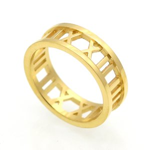 2017 Roman gold Love brand 316L Titanium steel jewelry wholesale Heart Love Rings for woman wedding ring jewelry gold silver rose color 7MM