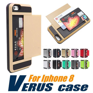 For iPhone 8 Case For Iphone 7 Hybrid Armor Case Dual Layer Card Slides Case For Samsung Galaxy S8 Note 8 OPP Package