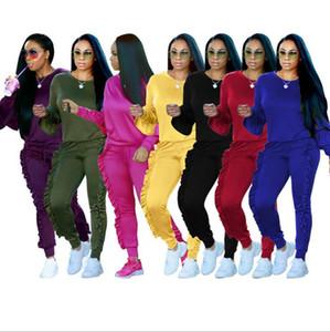 Sweatshirt Sweatshirt Pantalons Ensembles de bord Corrugé Pantalon Casual Tracksuit Jogging Gym Stand Statut Crowstring Ruffle Plissé Crayon Pant OOA3682