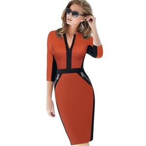 2017 Plus Size Cremallera frontal Mujeres Ropa de trabajo Elegante Vestido elástico Encantador Bodycon Lápiz Midi Primavera Negocios Vestidos ocasionales
