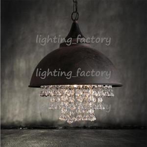 Amerikan country tarzı retro endüstriyel pot kapak demir lüks kristal kolye ışıkları oturma odası otel kulüpleri kolye lamba