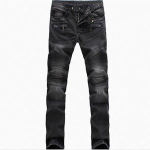 Gros-New Fashion Jeans plissés ruché drapées hommes Biker Jeans Pantelons Rayé Joggers Denim Pantalon Taille Plus 40