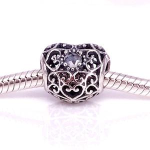 WholesaleS925 Sterling Silver April Signature Coeur Perle de Charme avec Cristal de Roche Convient Européen Pandora Bijoux Bracelets Colliers 791784RC