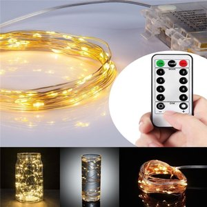Dimmable LED String Lights Battery Powered with Remote Control Mini String Lights 100LEDs 5m Super Bright Ultra Thin Silver Wire Rope Lights