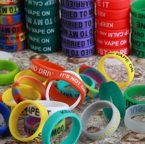 500pcs DHL Livraison gratuite aux bandes sur mesure Vape 22mm * 7mm * 2 mm Logo coloré Vape bandes Anneaux en silicone pour E Cigarette Mod Sub Ohm réservoir