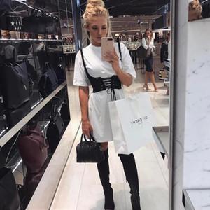 2017 Vintage Lace Up Denim Wide Corset Belt Top Bandage Womens Belt Cintura New Shape-Making Midriff-Cinchers Black Femme Cinture Crop Top