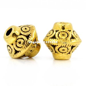 Doreen Box Spacer Beads Bicone dorato 7x6mm, Foro: Appross. 1mm, 100 pezzi (B24599)