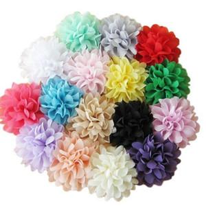 Diy Цветы для аксессуаров 4 дюймов шифон цветы DIY ткани головной убор девушки цветка аксессуары для волос ручной работы цветок оголовье DHL бесплатно