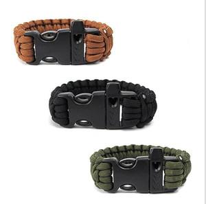 Bracelets de survie en plein air Randonnée cordon Paracord Bandeaux d'urgence corde engrenage sifflet bracelet de sauvetage de sauvetage en plein air