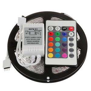 5m 3528 luz de tira do diodo emissor de luz RGB 5m impermeável LED SMD3528 + 24key IR controlador remoto