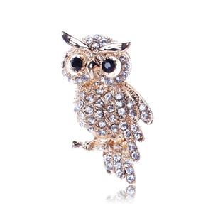 Moda color oro estilo búho brillante incrustaciones de cristal dama joyas de diamantes de imitación broches para bodas